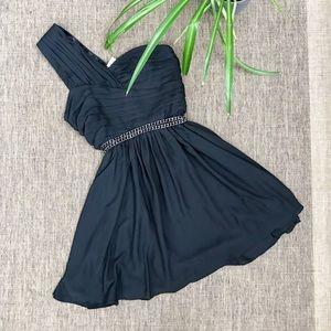 Express black one shoulder mini chain dress NWT
